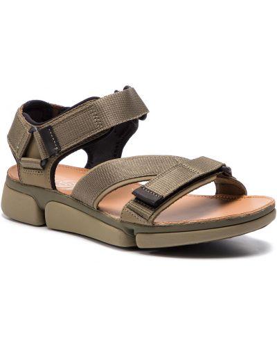 Zielony skórzany skórzany sandały Clarks