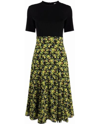 Шелковое черное платье миди в цветочный принт Paul Smith