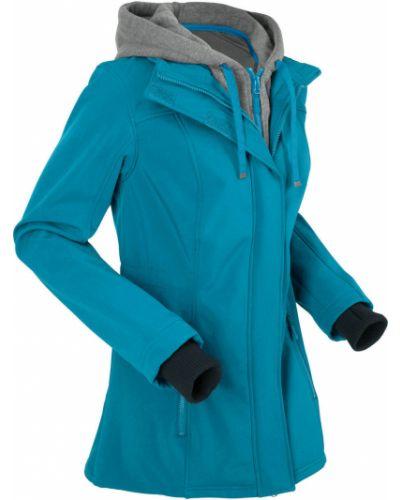 Бирюзовая длинная куртка на молнии с карманами софтшелл Bonprix