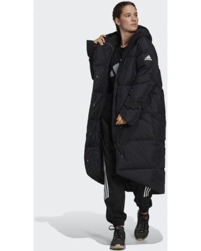 Черный пуховик удлиненный Adidas