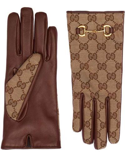 Кожаные перчатки - бежевые Gucci