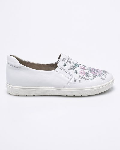 Кожаные туфли с вышивкой текстильные Caprice