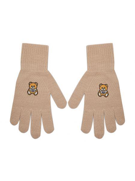 Beżowe rękawiczki Moschino