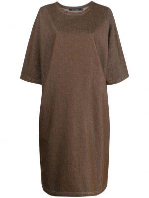 Коричневое с рукавами платье миди с вырезом Sofie D'hoore