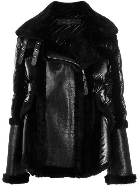 Кожаное черное пальто с гусиным пухом Nicole Benisti