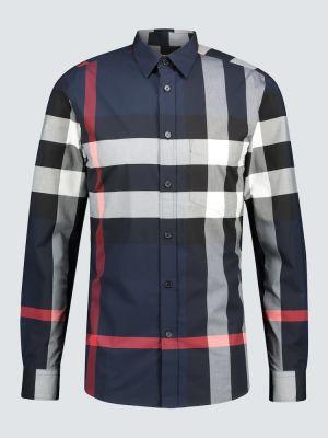 Синяя рубашка стрейч оверсайз с рисунком Burberry
