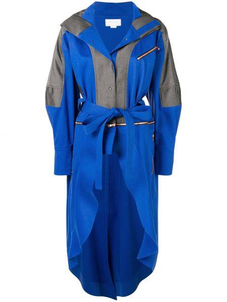 Хлопковое синее пальто с поясом Esteban Cortazar