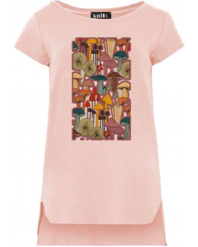 Różowa bluzka asymetryczna z printem Knitis