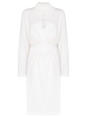 Белое платье с запахом с воротником с вырезом Tom Ford