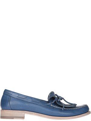 Кожаные лоферы - синие Santoni