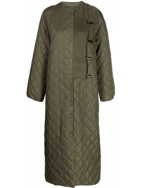 Зеленое стеганое длинное пальто на пуговицах Ganni