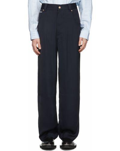 Satynowe czarne spodnie z paskiem Eytys