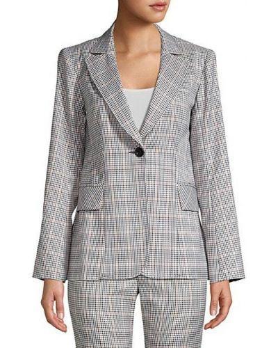 Длинная куртка с подкладкой в клетку с длинными рукавами Nanette Lepore
