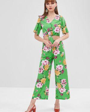Свободные брюки в цветочный принт Zaful