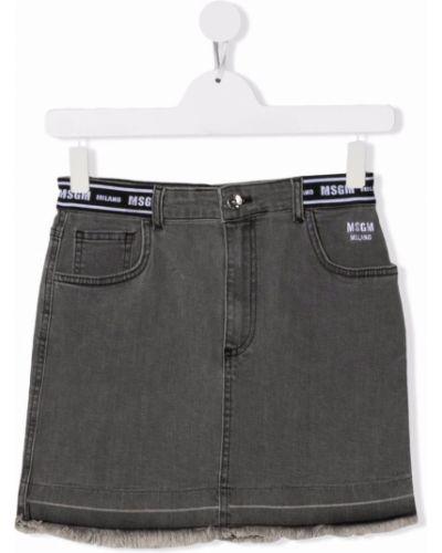 Spódnica jeansowa z paskiem - czarna Msgm Kids