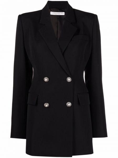 Шерстяной черный удлиненный пиджак двубортный Alessandra Rich