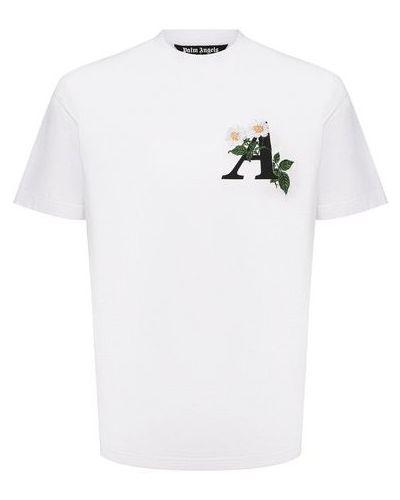 Хлопковая белая футболка Palm Angels