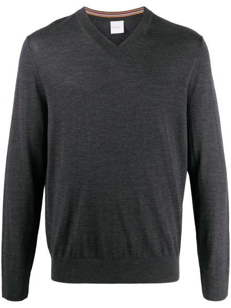 Z merynosa pulower z dekoltem w szpic z długimi rękawami Paul Smith