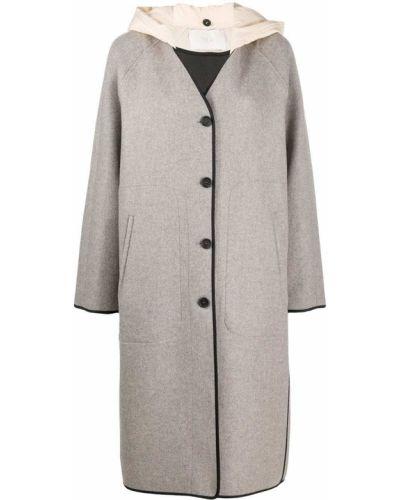Серое свободное шерстяное пальто на пуговицах Tela