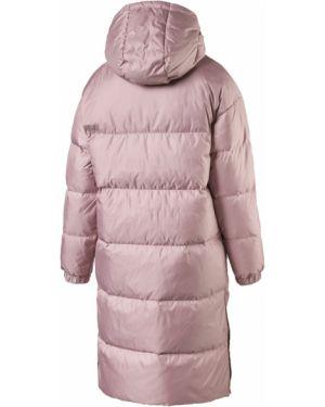 Розовая длинная куртка с капюшоном с воротником Puma