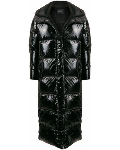 Черное пуховое длинное пальто с капюшоном Duvetica