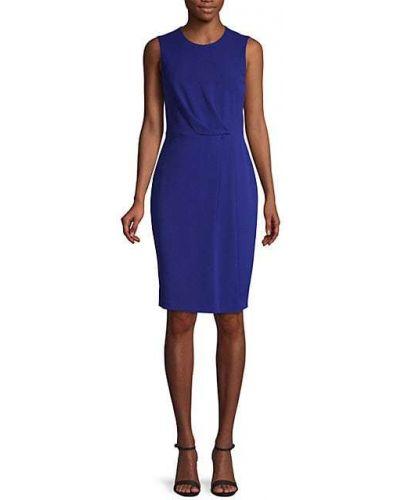 Приталенное бежевое платье-футляр без рукавов Calvin Klein