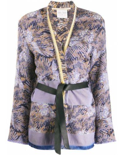 Синяя длинная куртка с опушкой Forte Forte