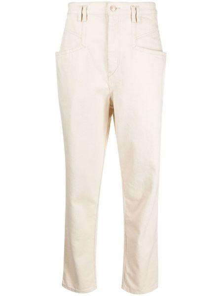 Jeansy bawełniane z paskiem Isabel Marant