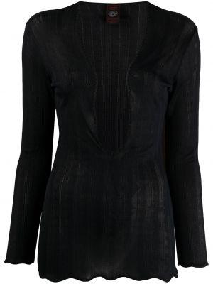С рукавами тонкая черная блузка с длинным рукавом узкого кроя Jean Paul Gaultier Pre-owned