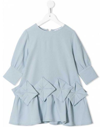 Синее платье с рукавами круглое с круглым вырезом с длинными рукавами Owa Yurika