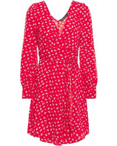 Sukienka mini kopertowa zapinane na guziki z printem Alexachung
