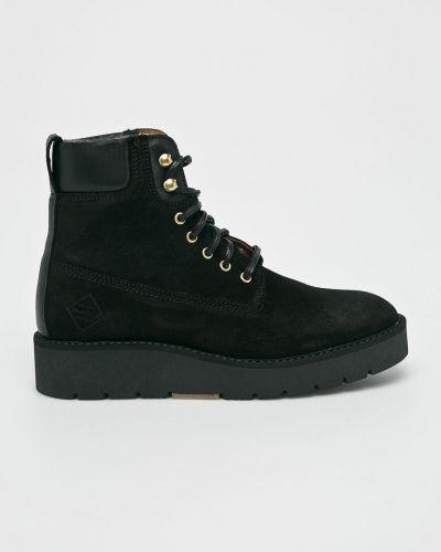 Кожаные сапоги на шнуровке теплые Gant
