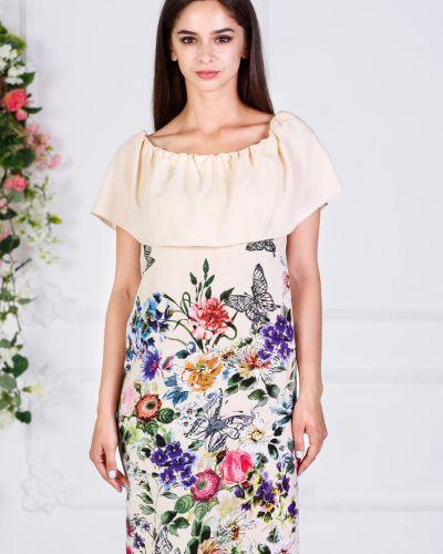 Летнее платье с декольте из штапеля азалия