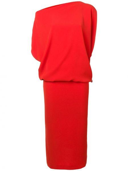 Красное асимметричное приталенное платье мини с короткими рукавами Poiret