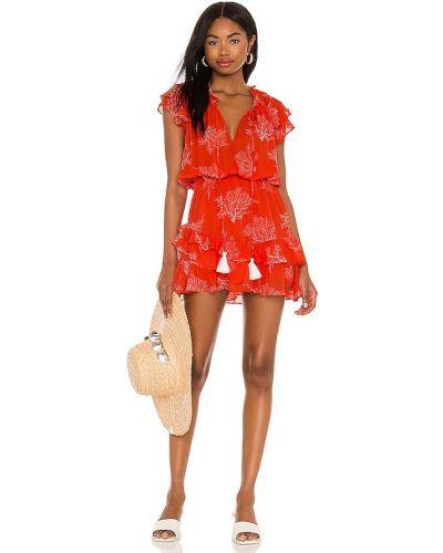 Шелковое красное платье мини с декольте Karina Grimaldi