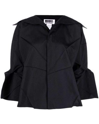 Czarna koszula z dekoltem w serek 132 5. Issey Miyake