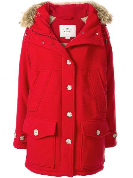 Шерстяное пальто с капюшоном айвори на пуговицах с карманами Woolrich