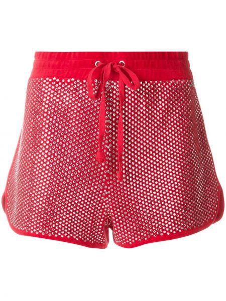 Красные велюровые спортивные шорты с декоративной отделкой Juicy Couture