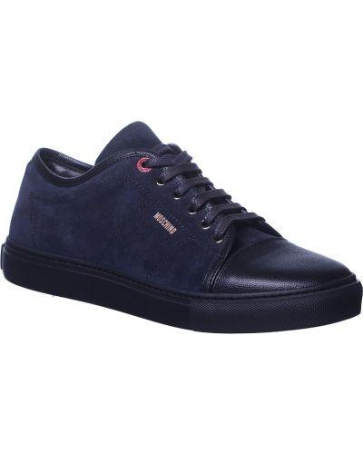 Синие кроссовки замшевые Love Moschino